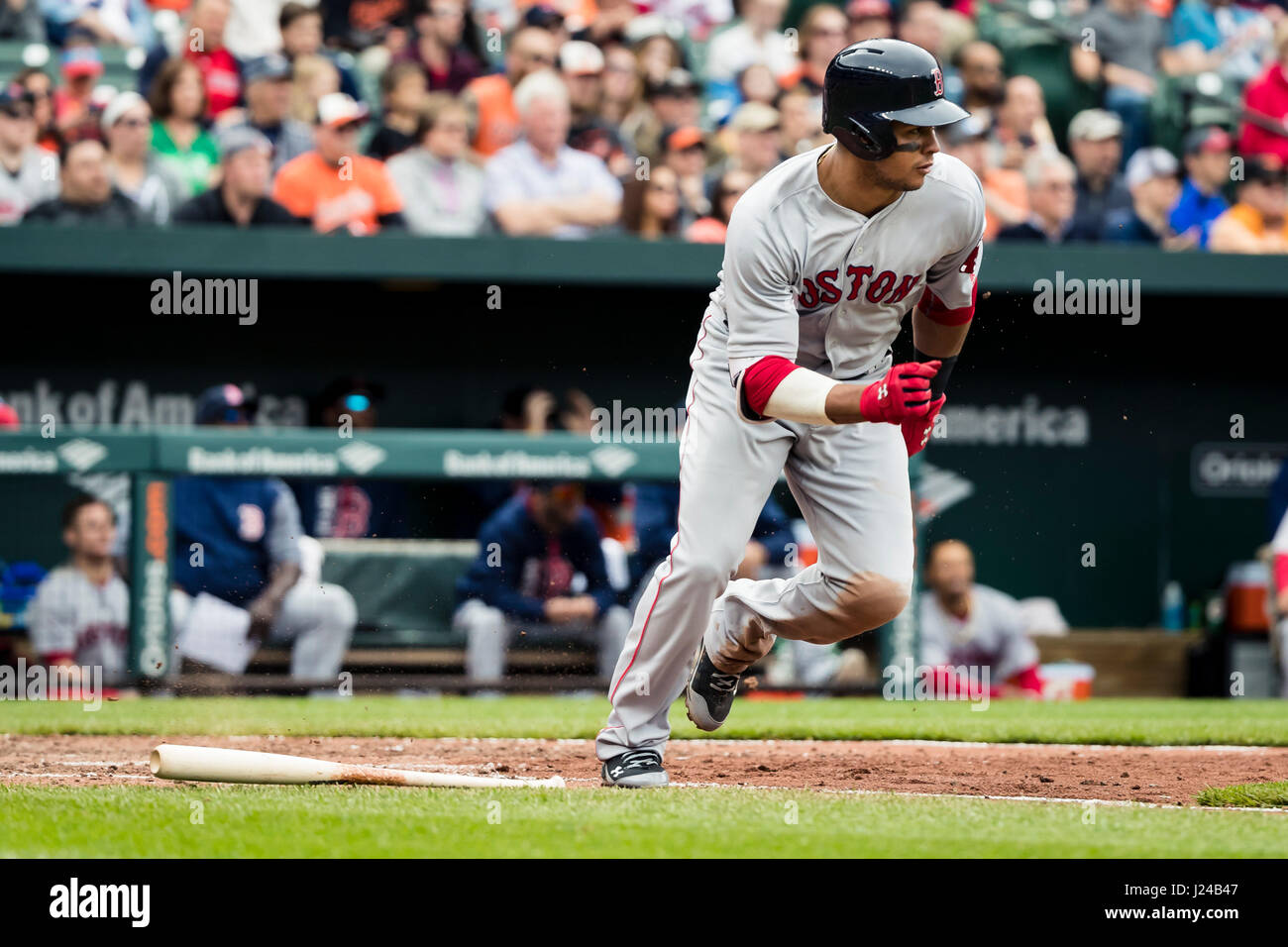 Baltimore, Maryland, USA. 23rd Apr, 2017. Boston Red Sox second ...