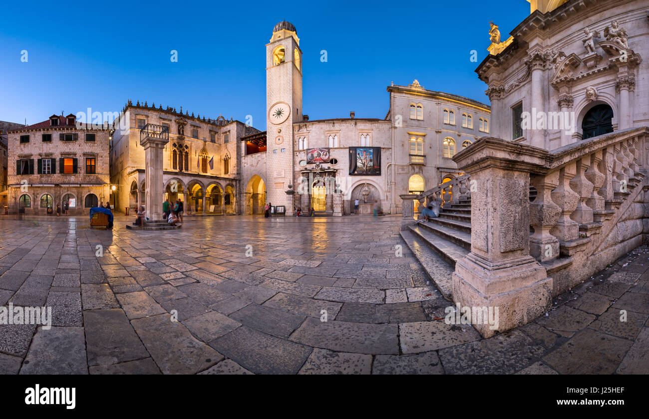 DUBROVNIK, CROATIA - JUNE 30, 2014: Panorama of Luza Square and Sponza Palace in Dubrovnik. In 1979, the city of - Stock Image