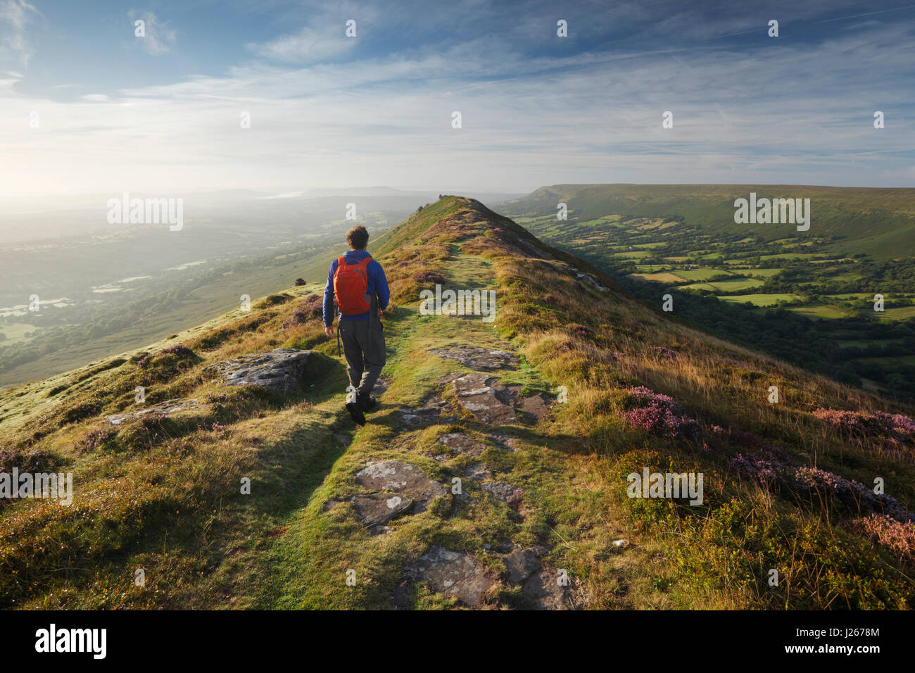 Hillwalker on Black Hill in the Black Mountains. Brecon Beacons National Park, Wales, UK. - Stock Image