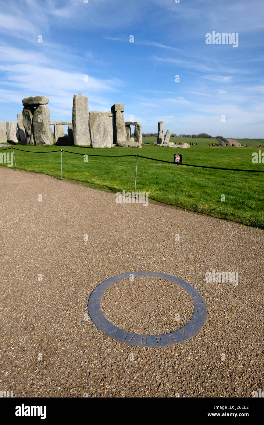 Aubrey Hole sign next to the Stonehenge prehistoric monument in Wiltshire, England Stock Photo