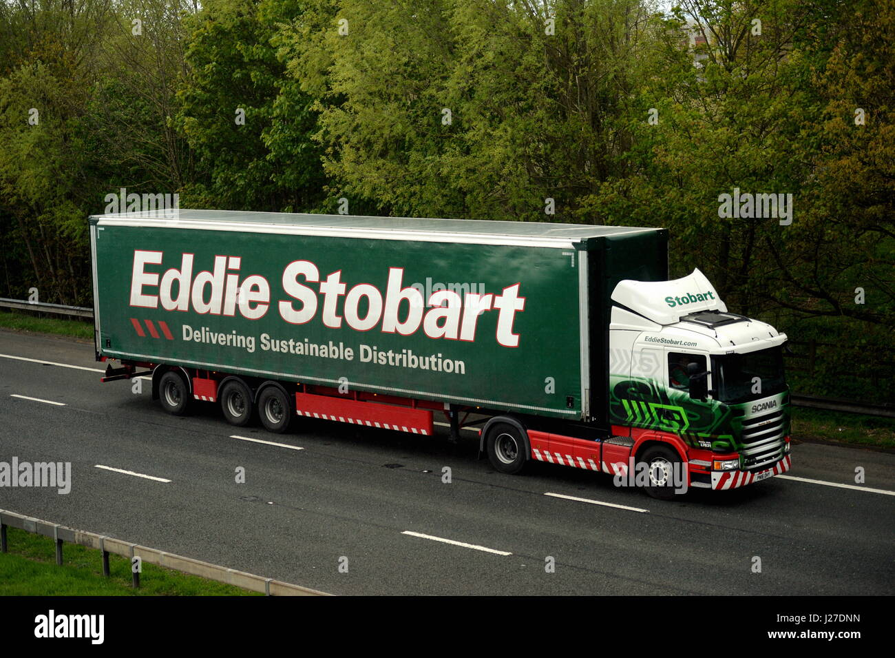 London, UK. 25th Apr, 2017. Eddie Stobart Scania articualted truck. Eddie Stobart Logistics have today floated on - Stock Image
