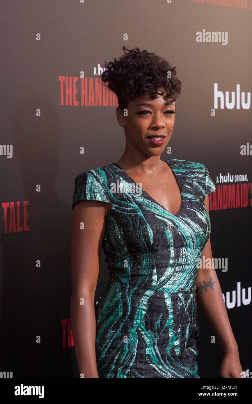Los Angeles, USA. 25th Apr, 2017. Samira Wiley arrives at Hulu's #|#The Handmaid's Tale#|# Premiere at the - Stock Image