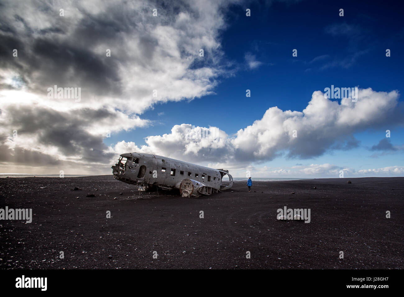 DC 3 Airplane wreck on Solheimasandur in Iceland - Stock Image