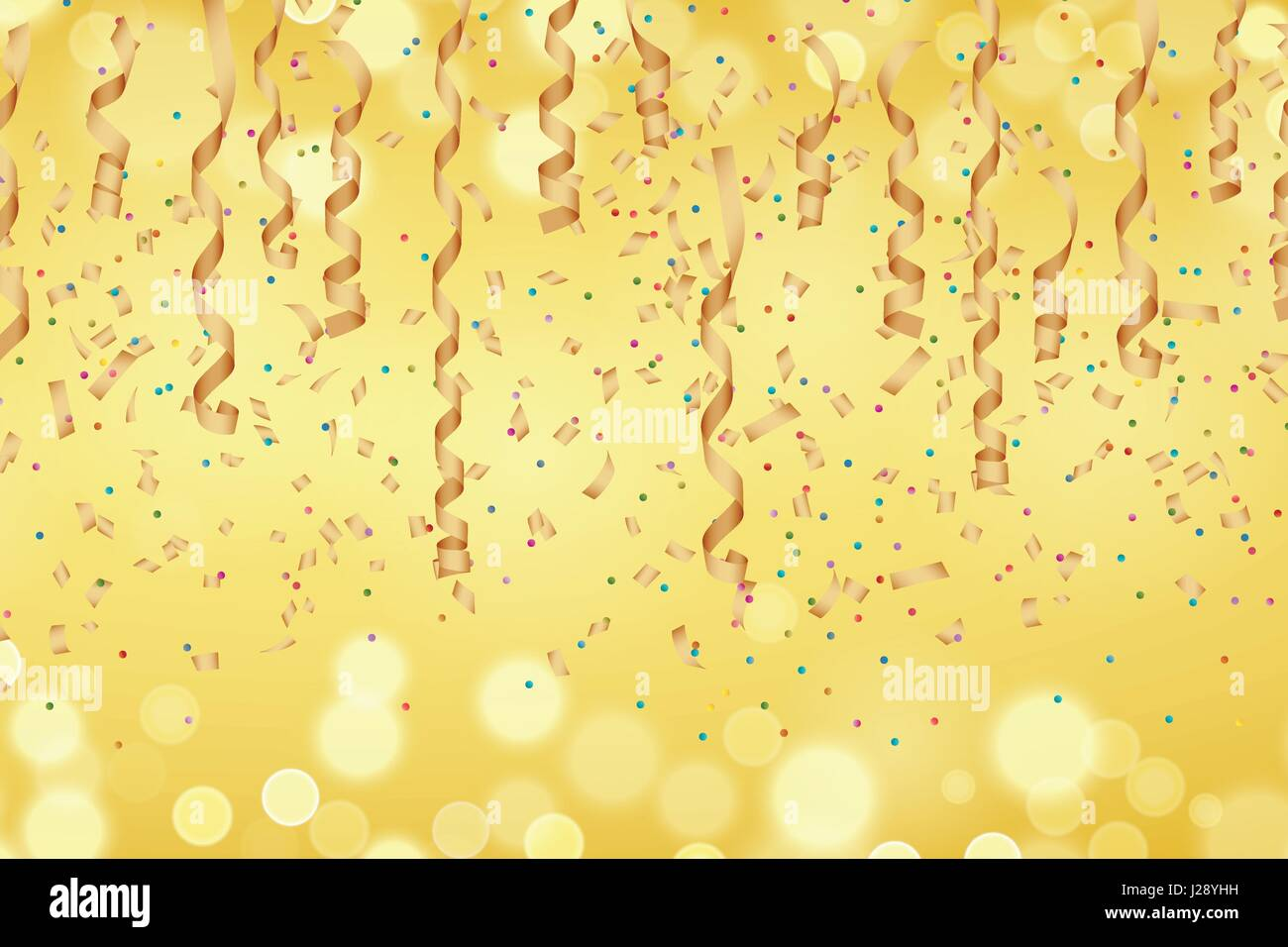 curly golden paper ribbon and confetti on blurred golden background vector illustration perfect for new year or birthday card