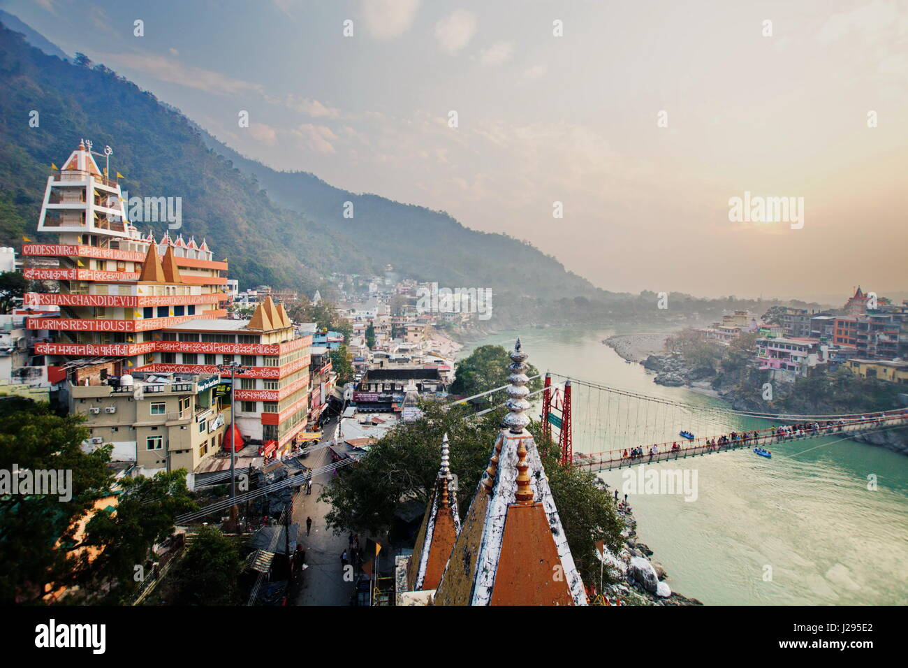Rishikesh India by the Ganges River view from above over the bridgeStock Photo