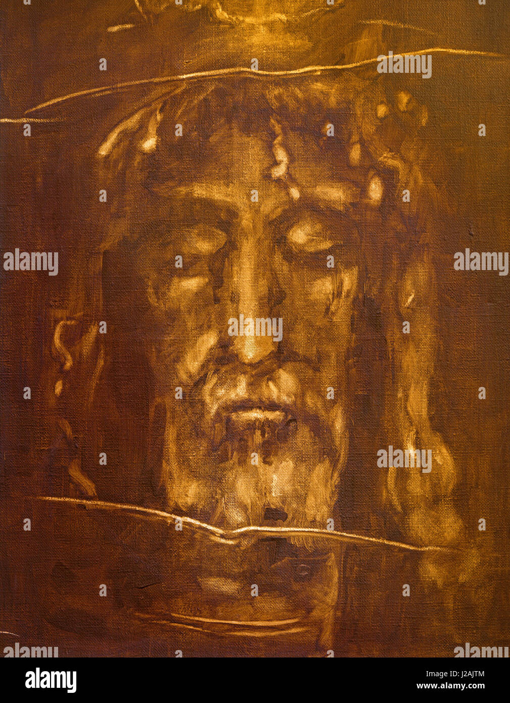 TURIN, ITALY - MARCH 13, 2017: The painting of Jesus Christ face from Shroud of Turin by unknown artist of 20 cent. - Stock Image