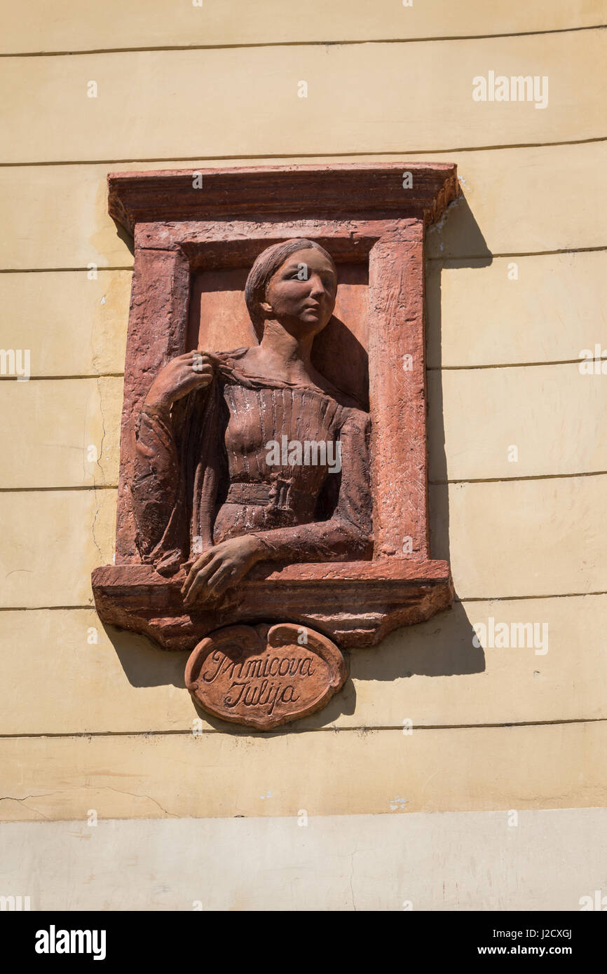 Statue of Julia Primic, the muse and unrequited love of famous Slovenian poet France Preseren, Ljubljana, Slovenia - Stock Image