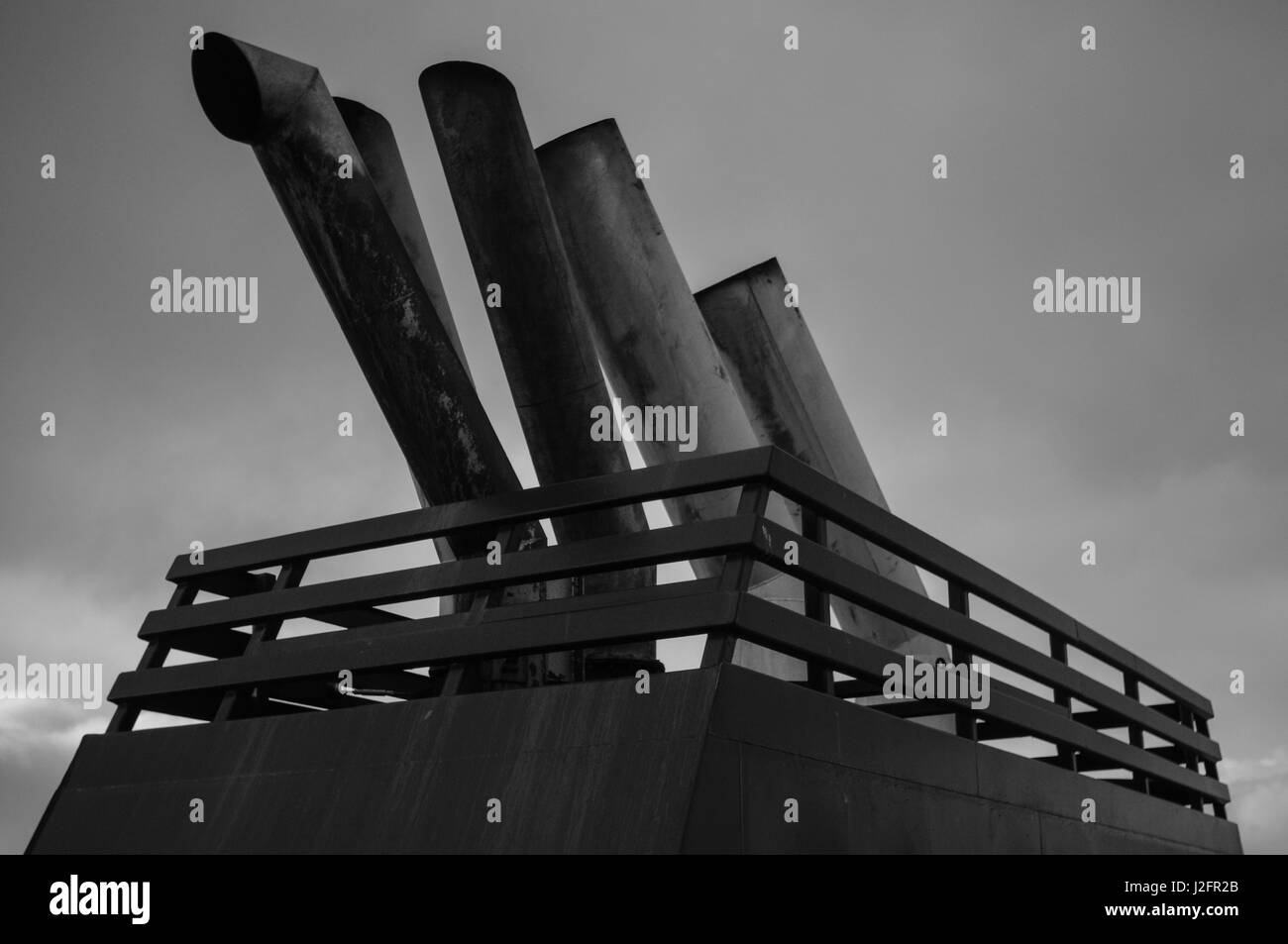 Ship exhaust on the ferry to shetland. The large exhaust fumes contributes to pollution and damage to environment - Stock Image