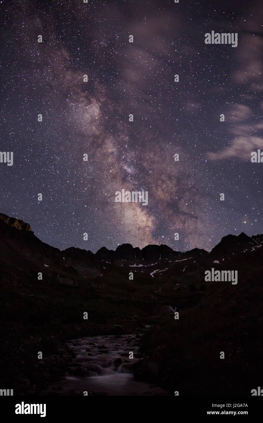 USA, Colorado, San Juan Mountains. Milky Way and mountain silhouette. Credit as: Don Grall / Jaynes Gallery / DanitaDelimont.com - Stock Image