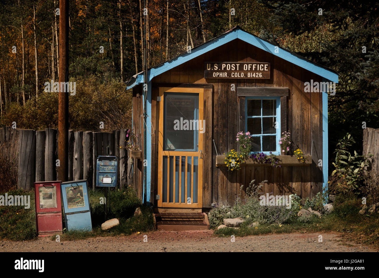 USA, Colorado, Ophir. Small post office building. Credit as: Don Grall / Jaynes Gallery / DanitaDelimont.com - Stock Image