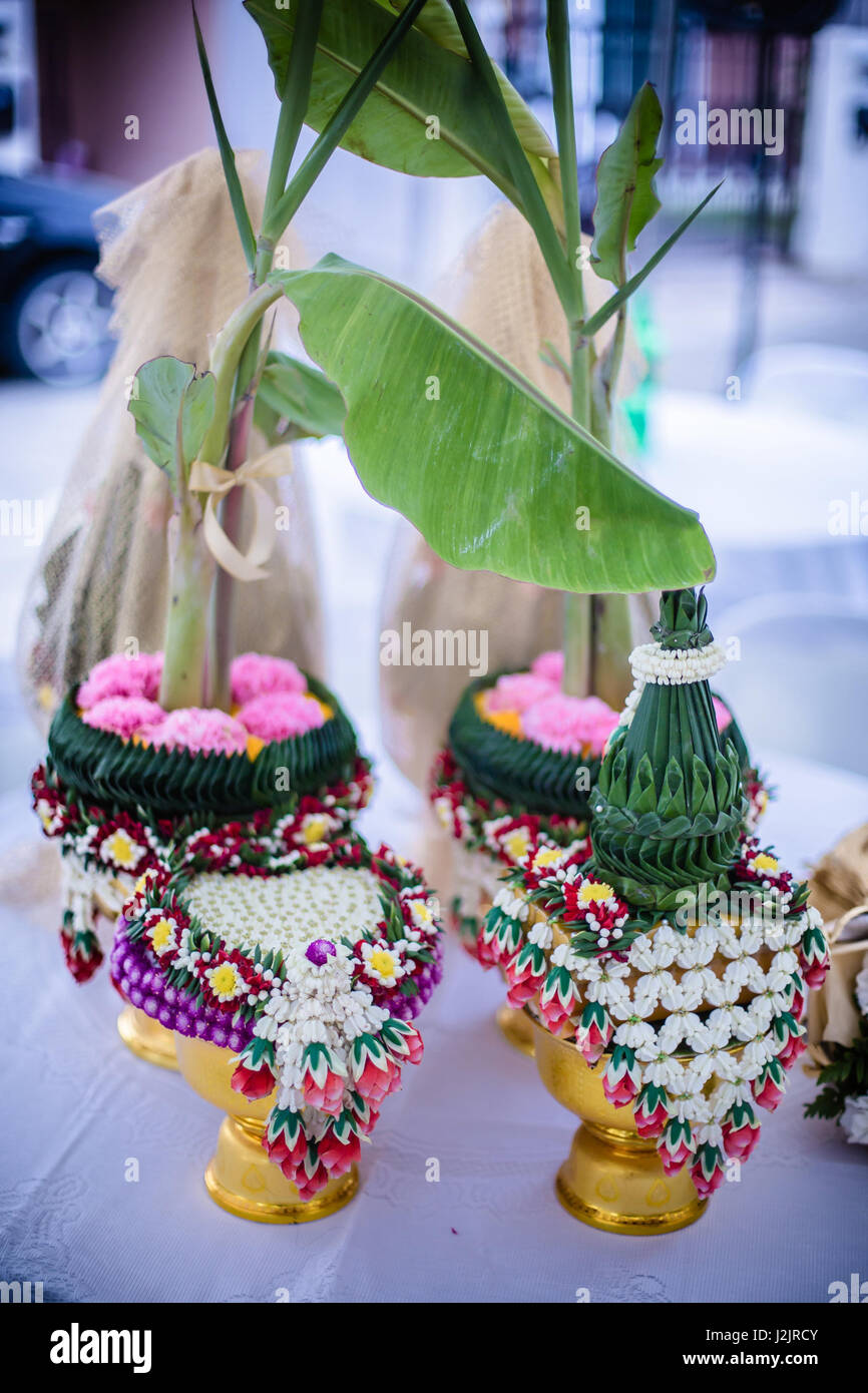 Flower Tray With Banana Tree For Thai Traditional Wedding Stock