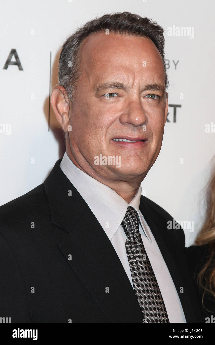 Tom Hanks attend 'The Circle' premiere during the 2017 Tribeca Film Festival at BMCC Tribeca PAC on April - Stock Image