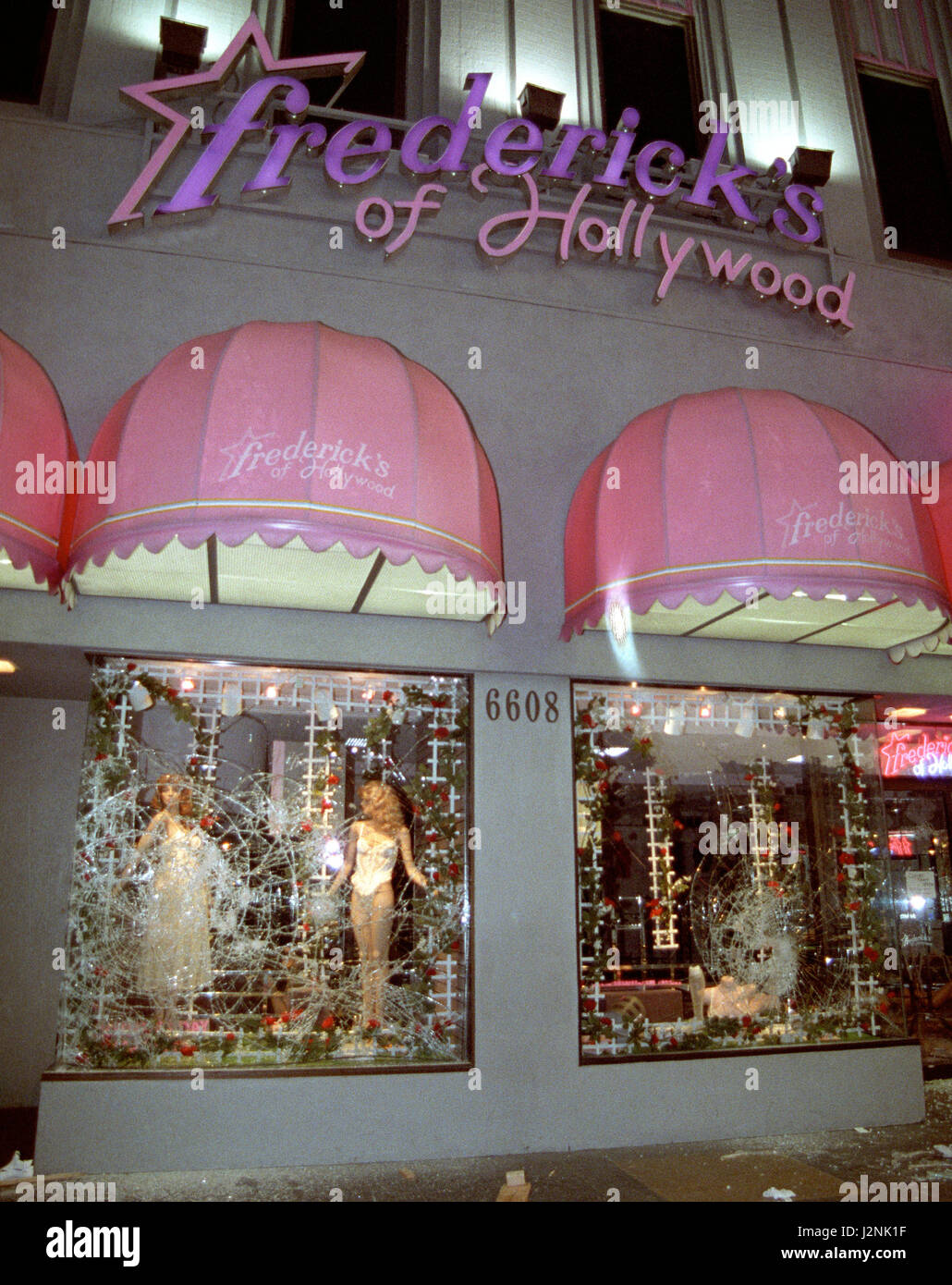 April 29/May 4 1992. Los Angeles CA. Famous Frederick's of Hollywood with broken windows. Coverage from the - Stock Image