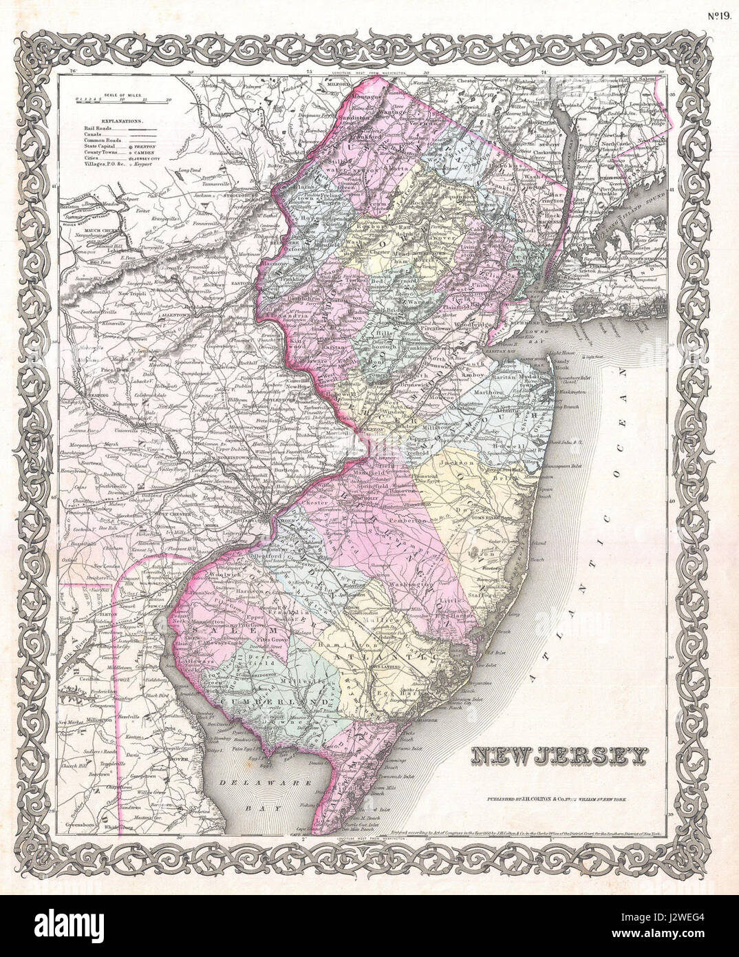 1855 Colton Map of New Jersey - Geographicus - NewJersey-colton-1855 - Stock Image