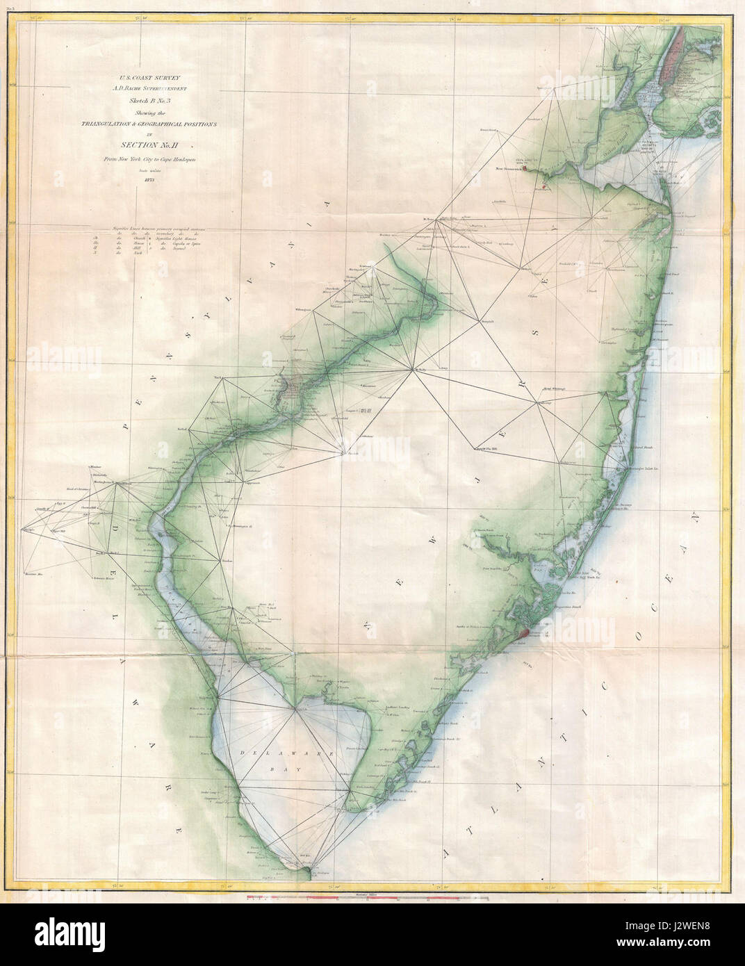 1873 U.S. Coast Survey Chart or Map of New Jersey and the Delaware Bay - Geographicus - NewJersey-uscs-1873 - Stock Image