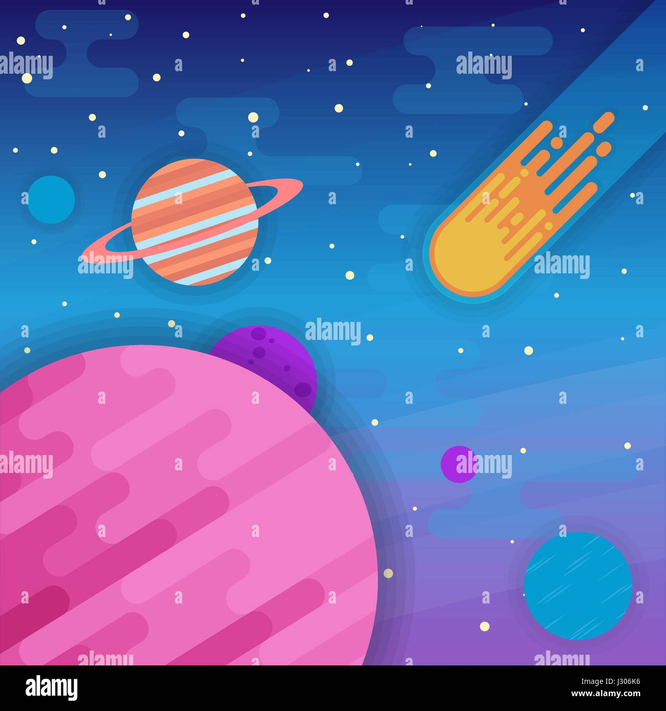 Space elements - planets, rings, comet, stars in flat style - Stock Image