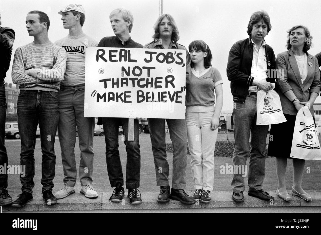 General Election 1983 Uk. Students and young adults demonstrate against the lack of job opportunities in BritainStock Photo