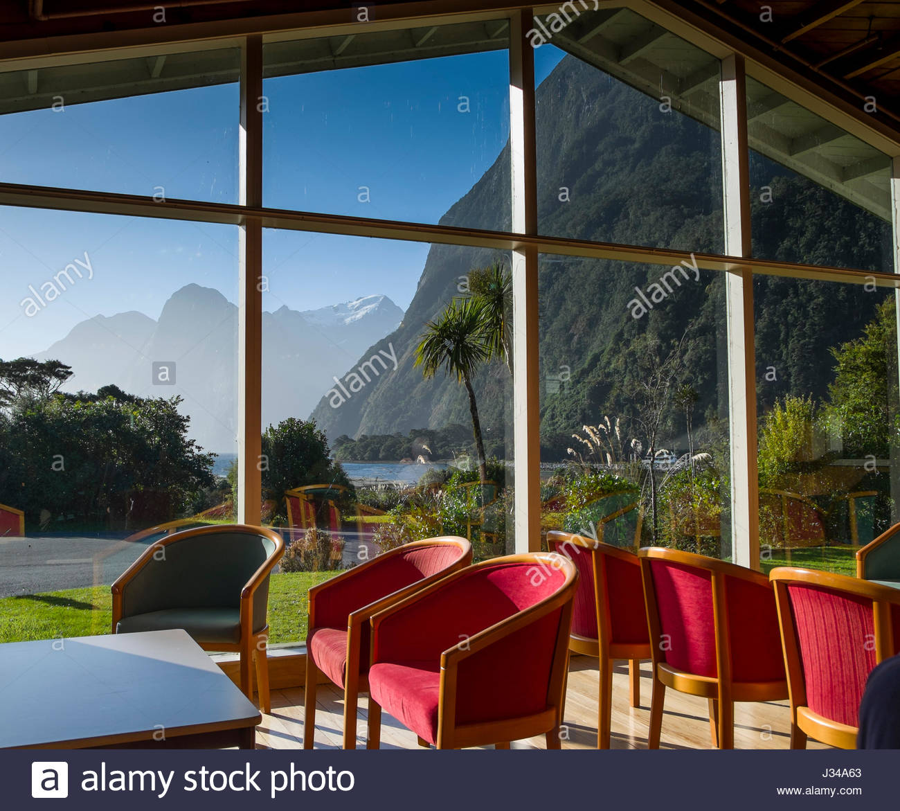 Mitre Peak Lodge, Milford Sound, Fiordland National Park, Southland, South Island, New Zealand Stock Photo