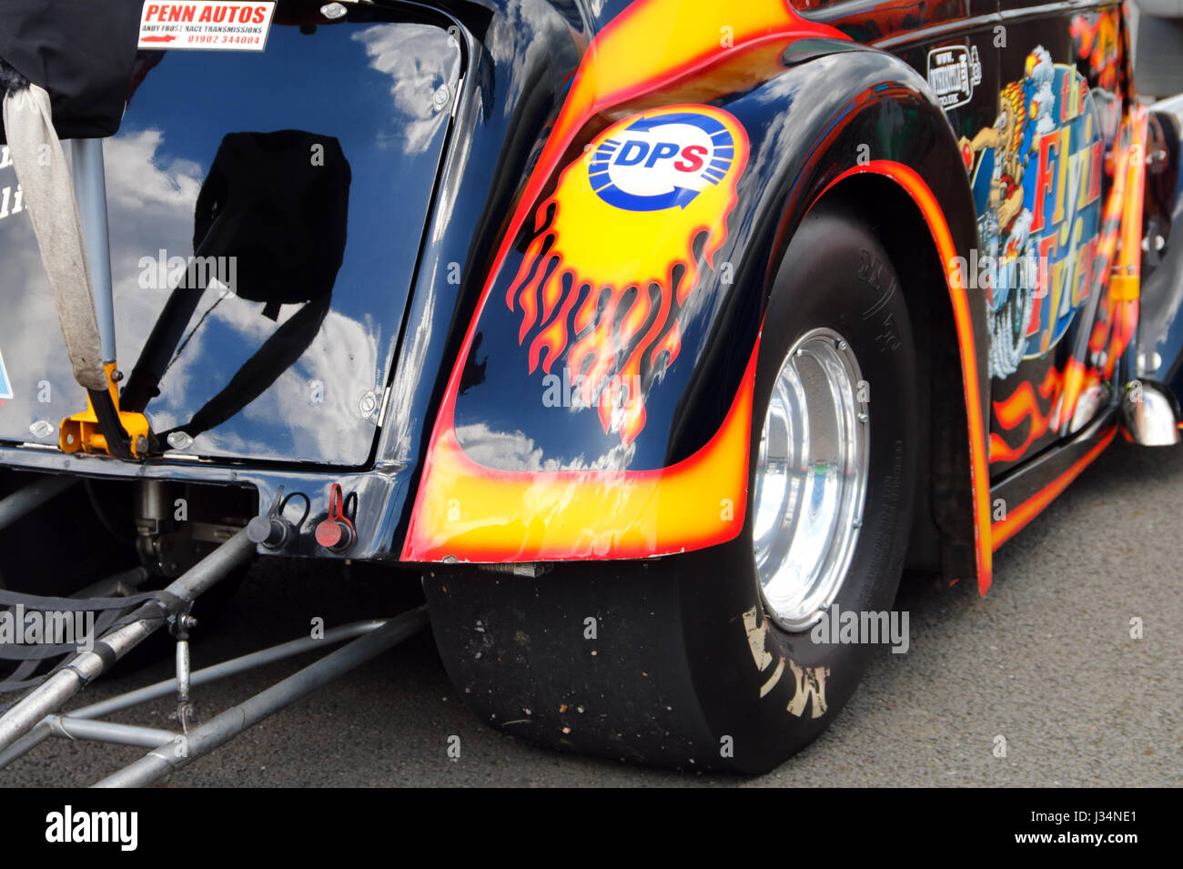 A hot rod at the Santa Pod raceway in England - Stock Image