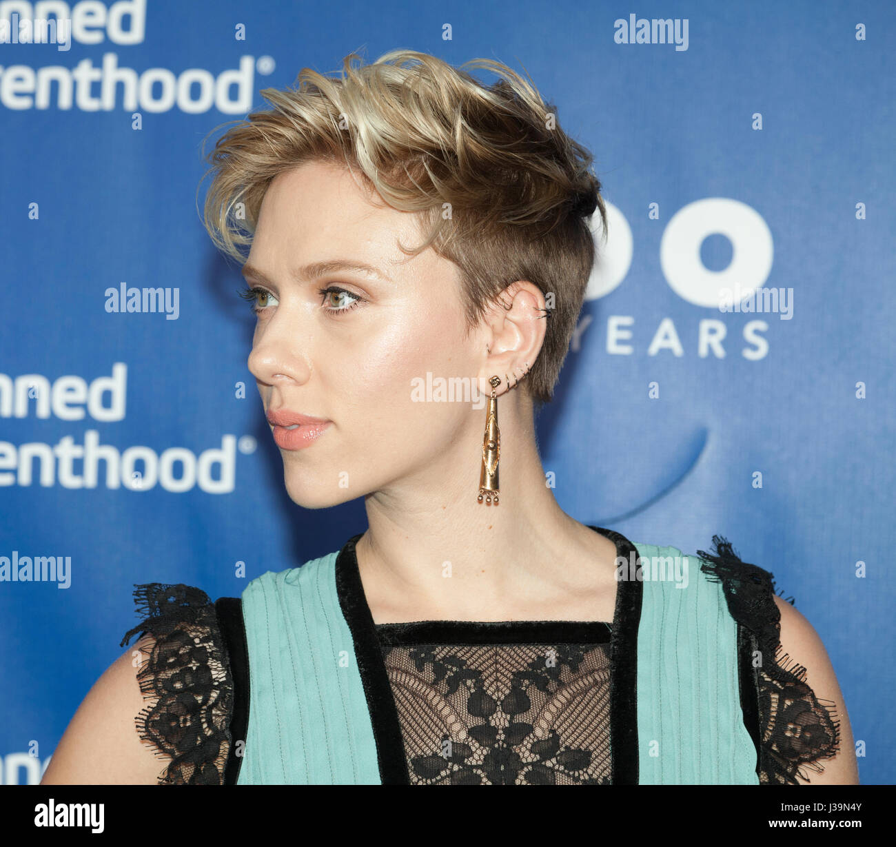 New York, NY USA - May 2, 2017: Scarlett Johansson attends the Planned Parenthood 100th Anniversary Gala at Pier - Stock Image