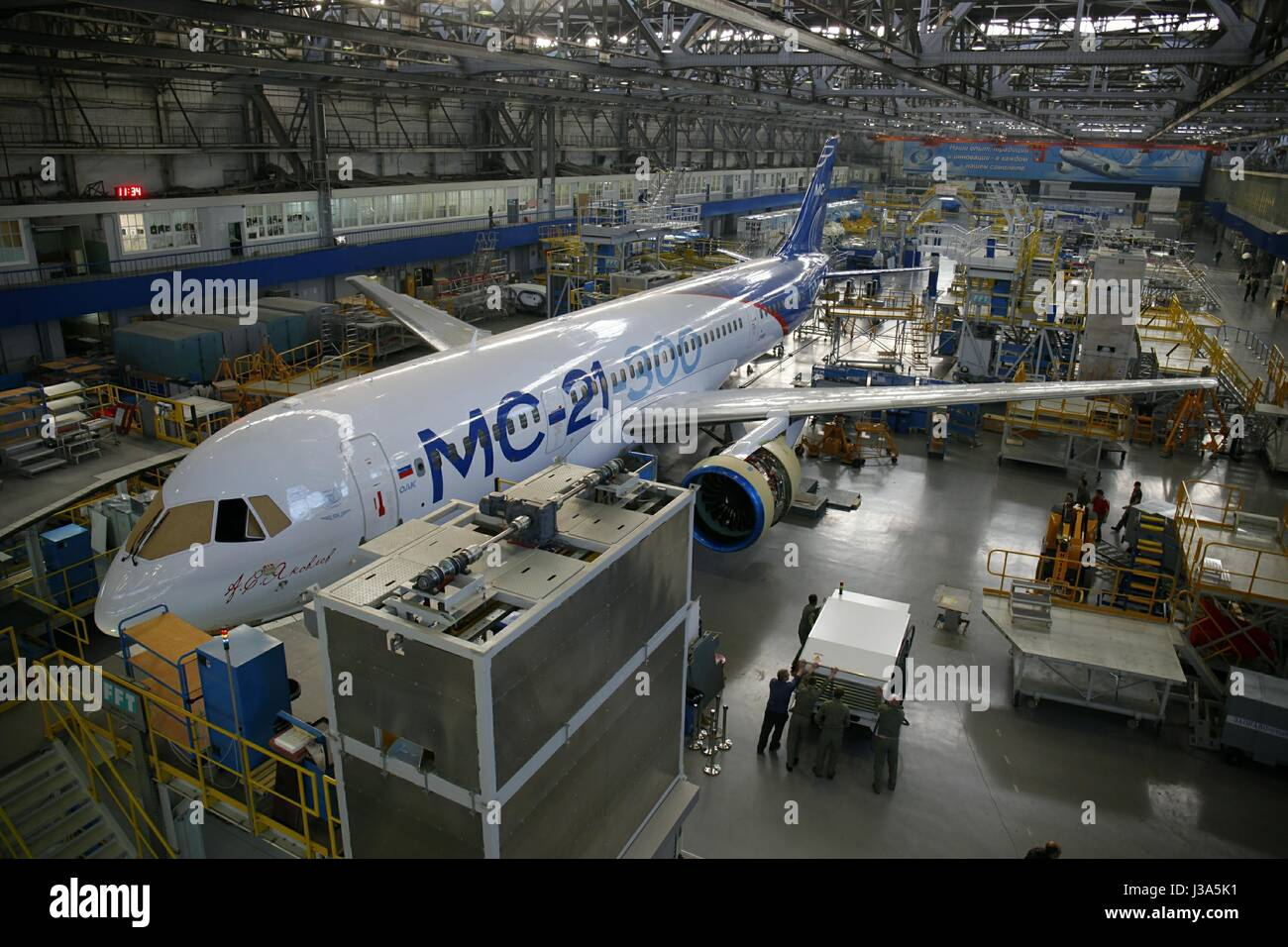 Russia. The first Irkut MC-21 aircraft left the assembly shop of the Irkut Corporation plant. The Irkut MC-21 is - Stock Image