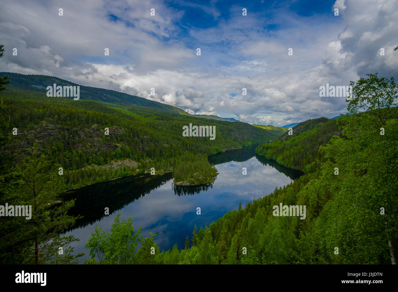 valdres, norway - 6 july, 2015: beautiful view over begna river seen