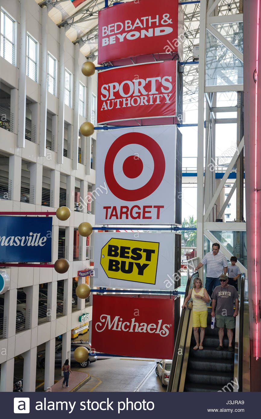 Miami Florida Dadeland Stores Retail Chain Best Buy Target Sports Authority  Bed Bath And Beyond Escalator Shopping Arcade Compet