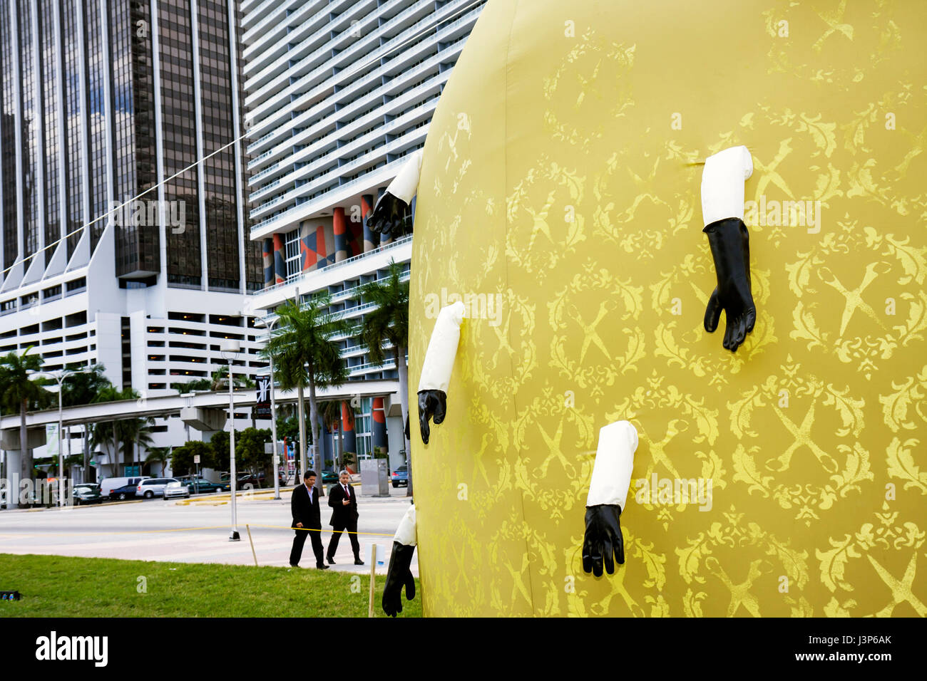 Miami Florida Biscayne Boulevard Art Basel Giants in the City Stock ...
