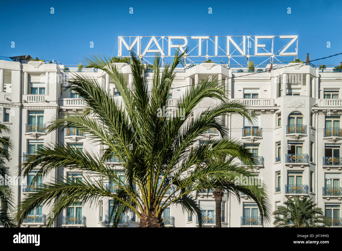 Facade of Hotel  Martinez, Cannes, Alpes-Maritimes, Cote d Azur, France Stock Photo
