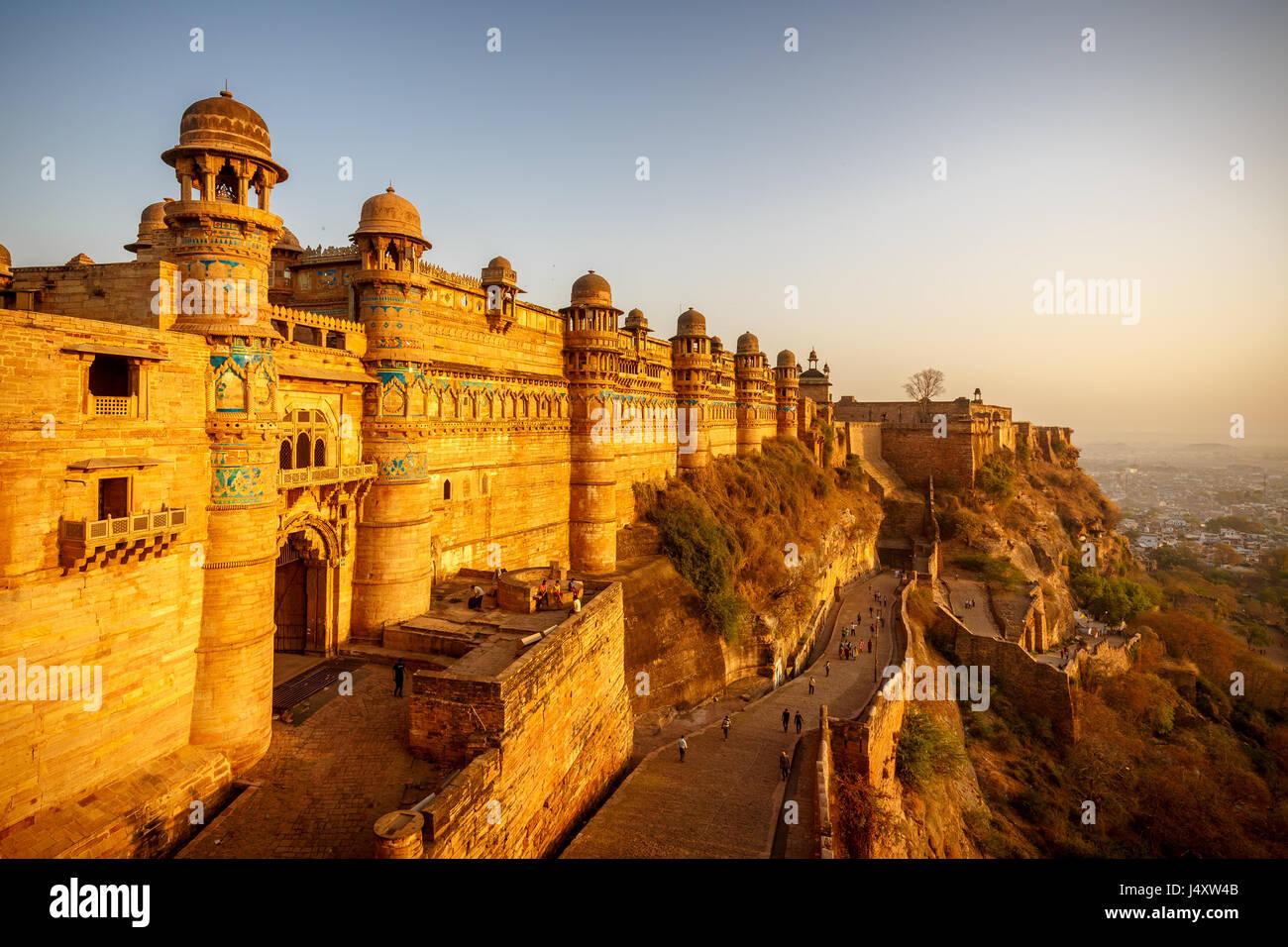 Gwalior Fort , Man Mandir, Gwalior,India Stock Photo