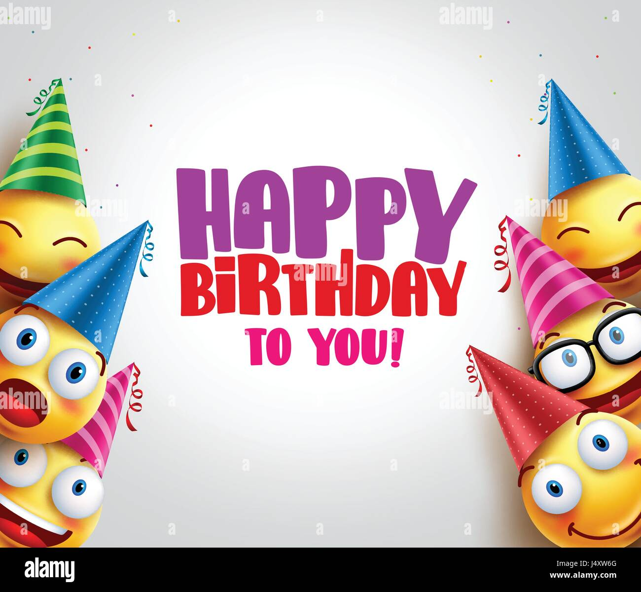 Happy Birthday Greeting With Smileys Vector Background And
