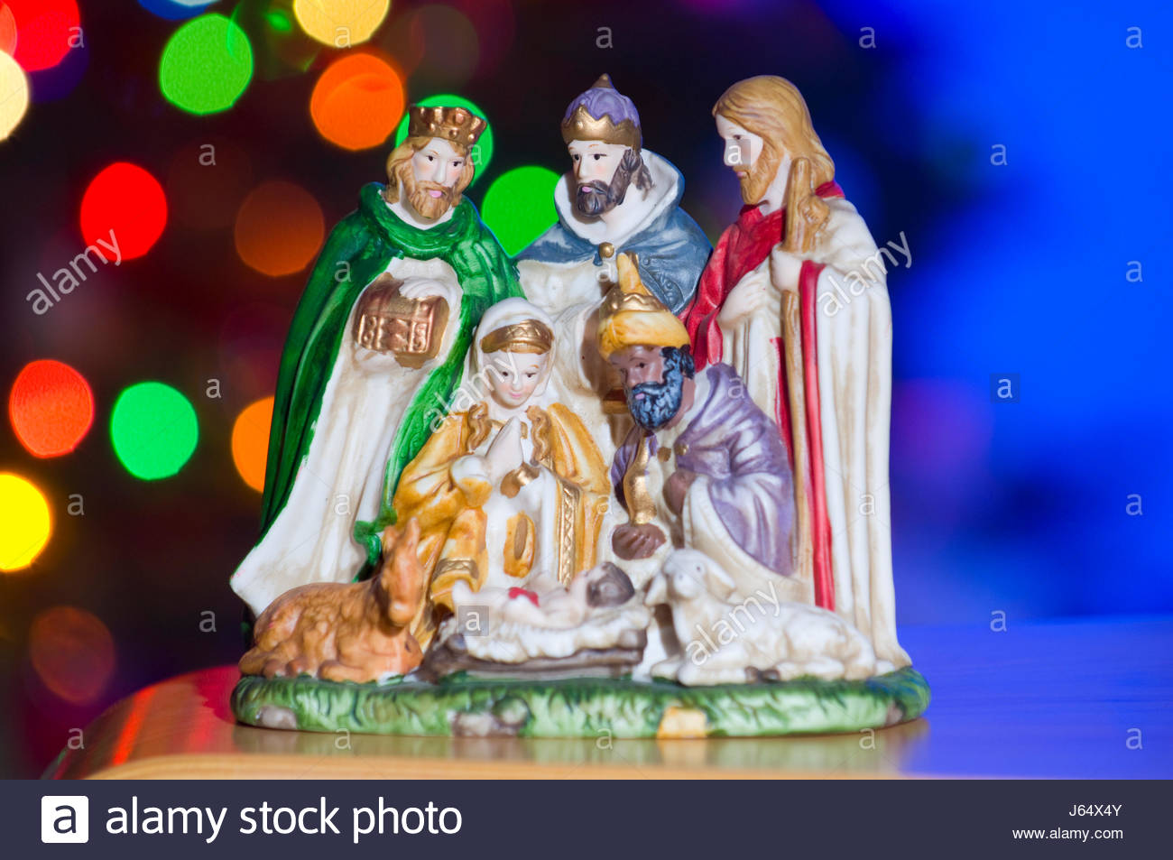 Figurine of the nativity depicting the birth of Jesus Christ with Mary, Joseph and the three wise men.Stock Photo