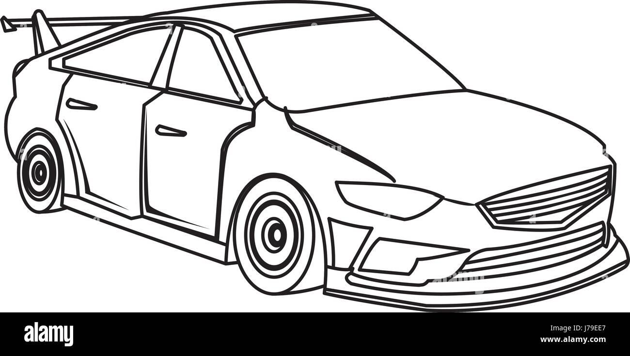 Sport Car Luxury Speed Vehicle Outline Stock Vector Art
