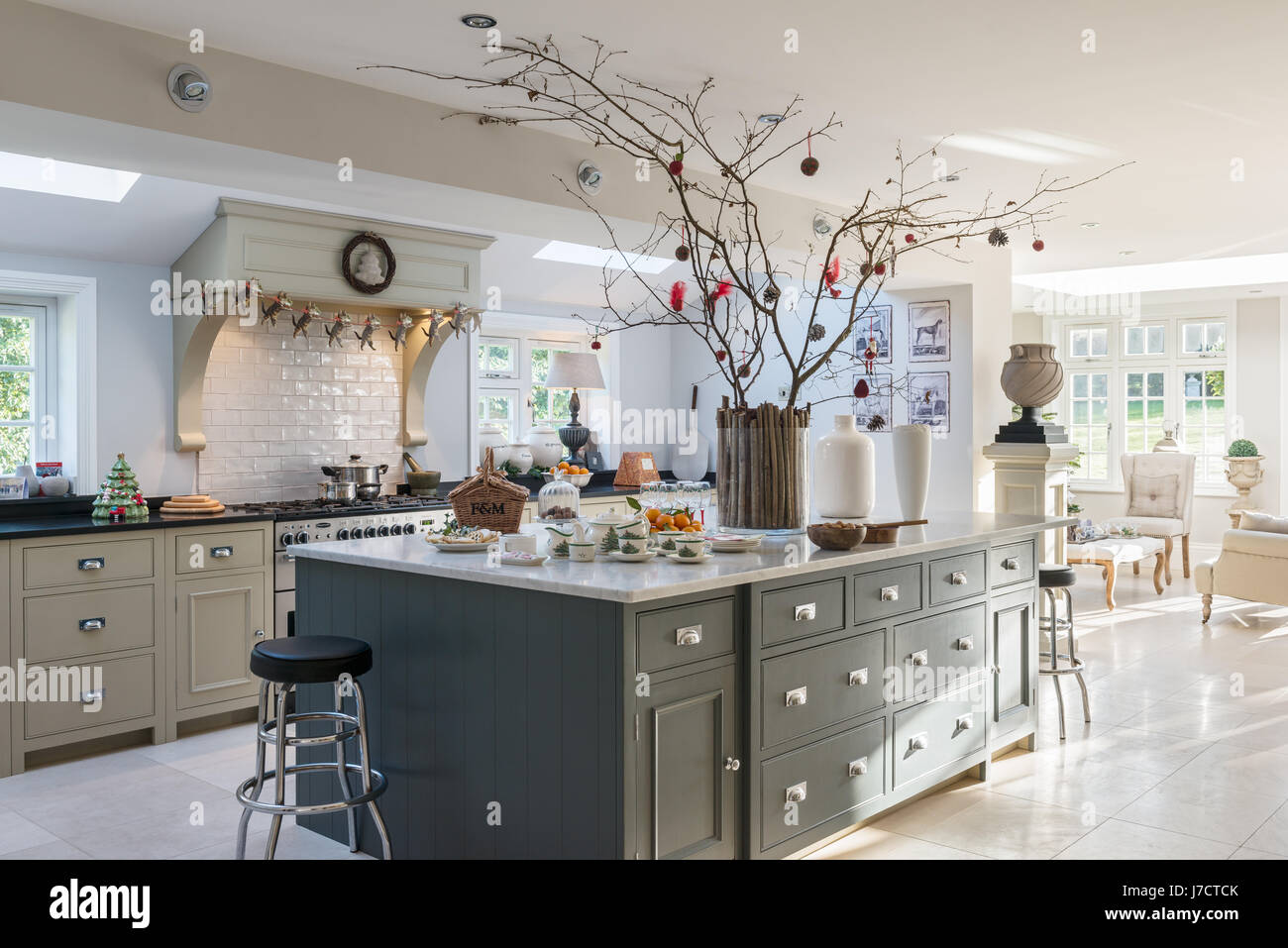Spacious kitchen island unit with Christmas decorations in 18th ...
