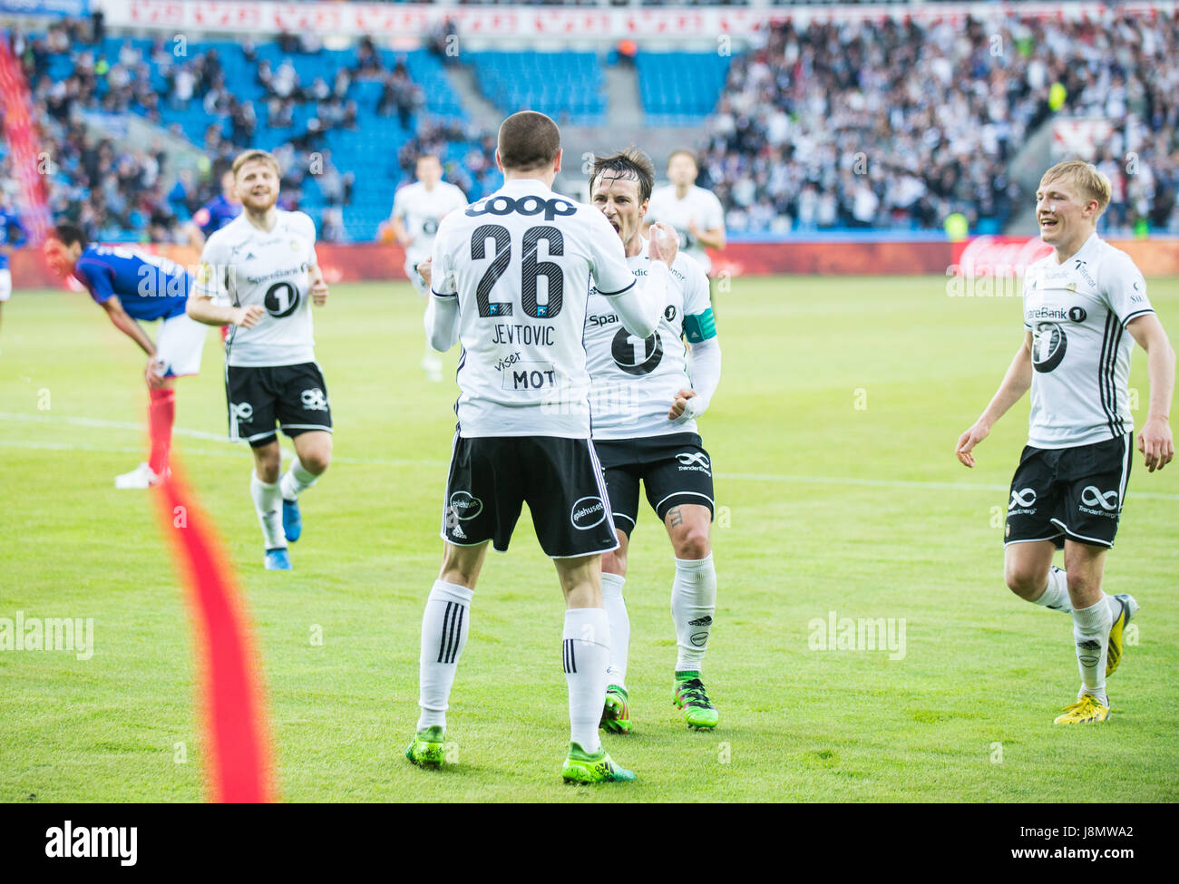 Milan Jevtovic Of Rosenborg Celebrates His   Goal With His Team Colleages During The Eliteserien Mathc Between Valerenga And Rosenborg At Ullevaal