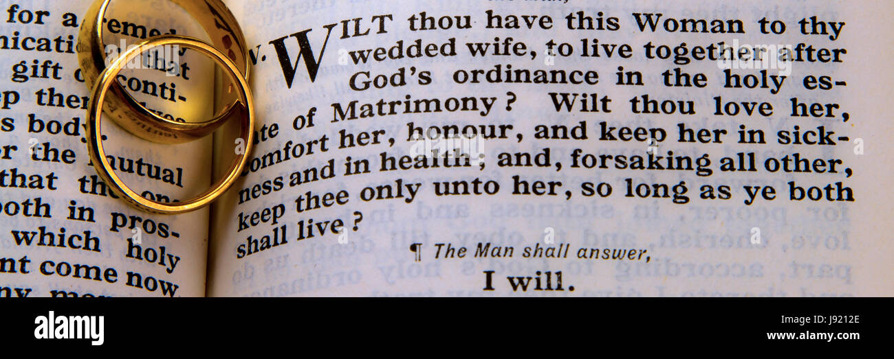 Marriage Vows from the Book of Common Prayer Stock Photo