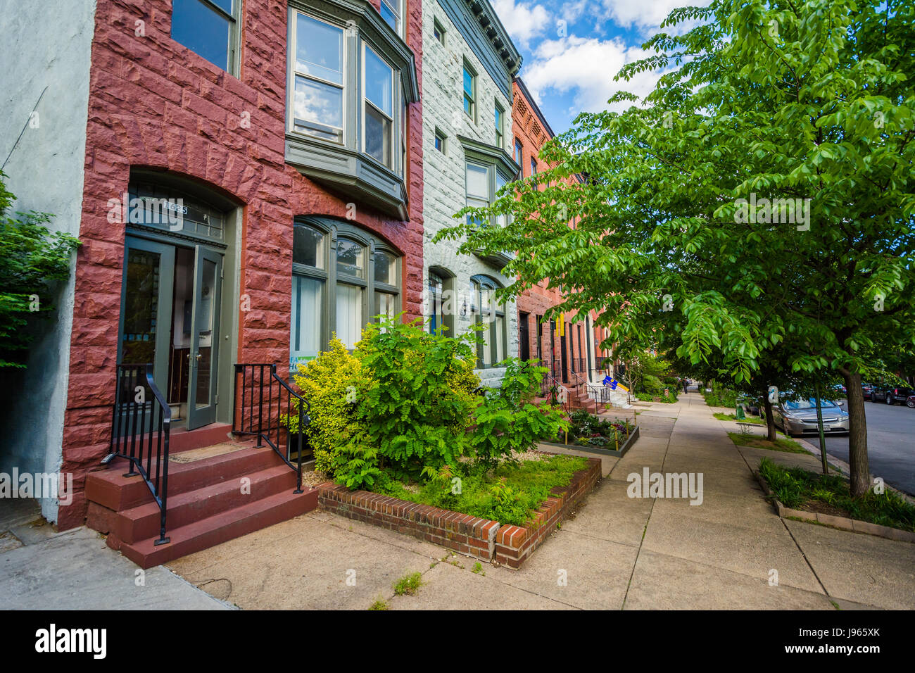 Row houses in Bolton Hill, Baltimore, Maryland. Stock Photo
