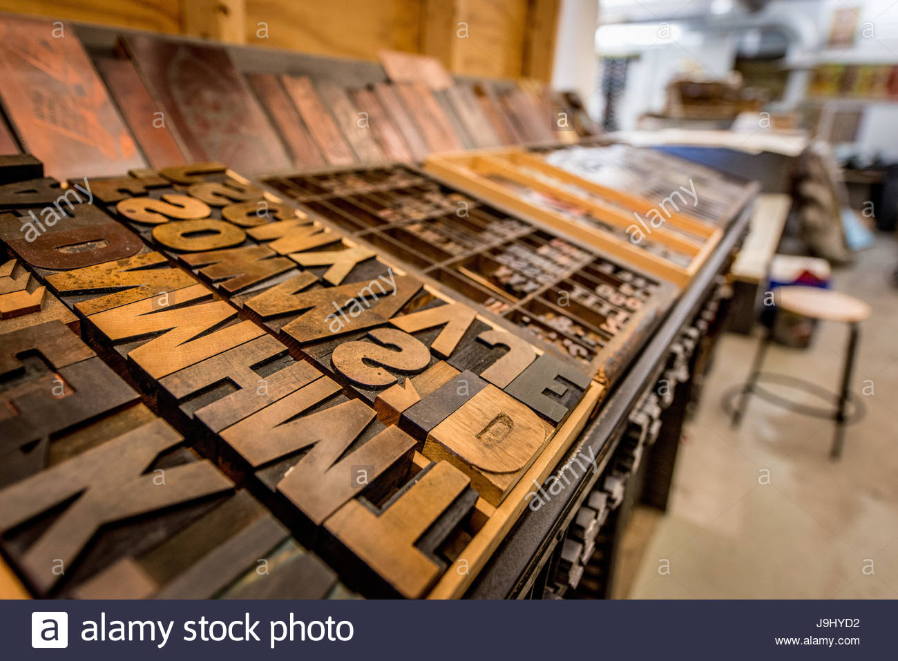 Letter Press blocks at Pyramid Atlantic Arts Center, in Silver Spring, Maryland. Stock Photo