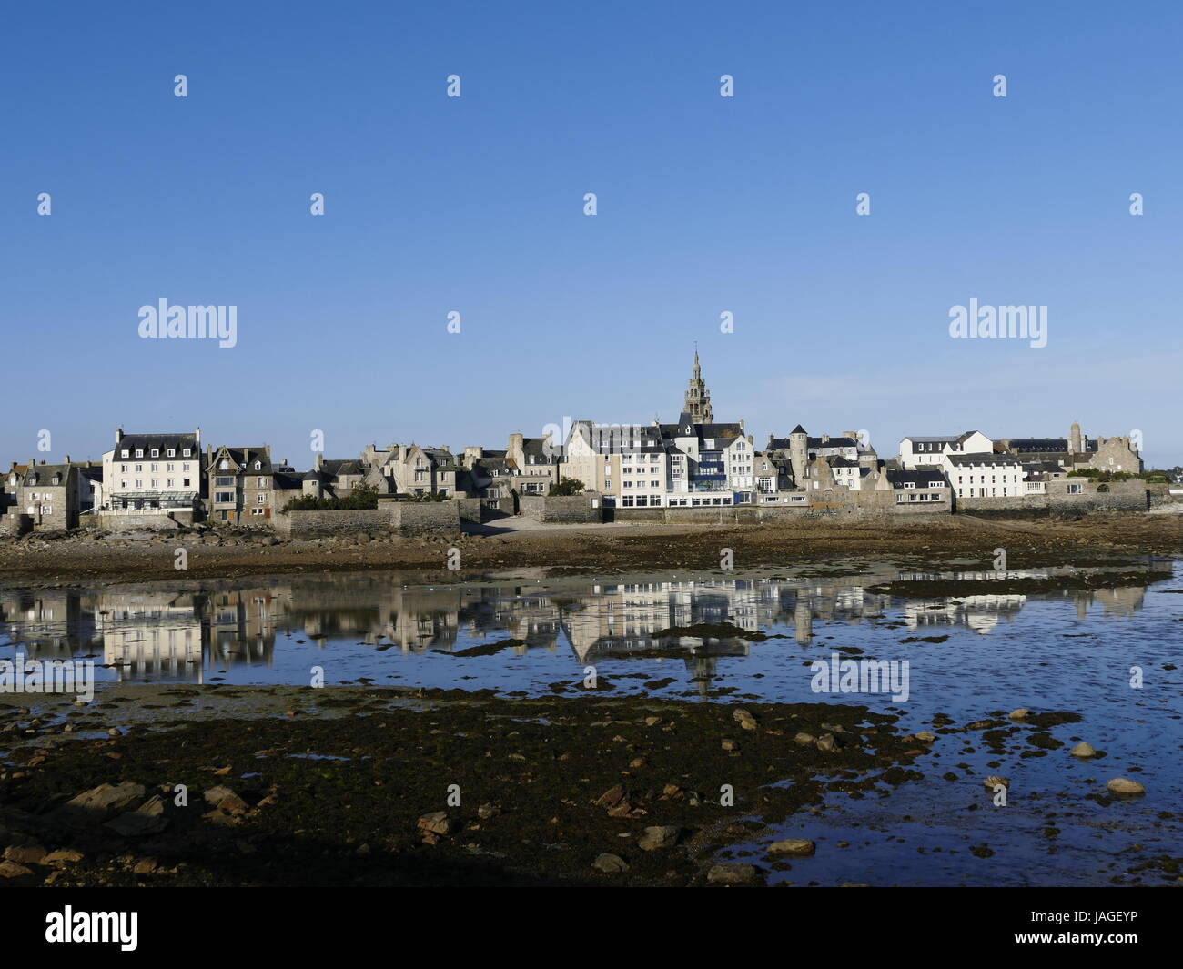 early-morning-village-skyline-reflected-