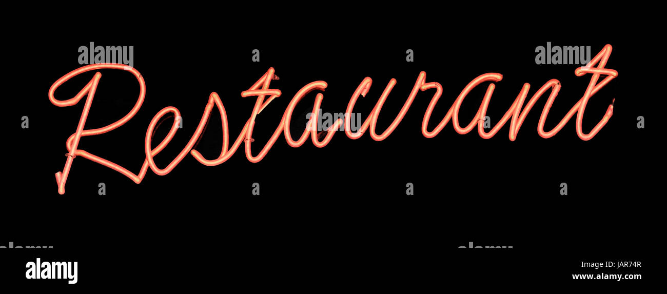neon sign spells the word restaurant stock photo 144340023 alamy