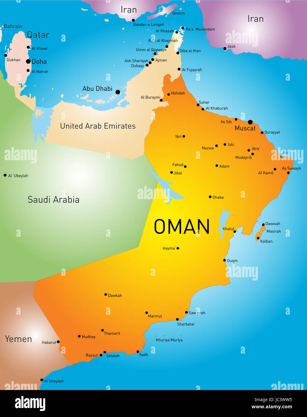vector color map of Oman country Stock Photo 145144977 Alamy