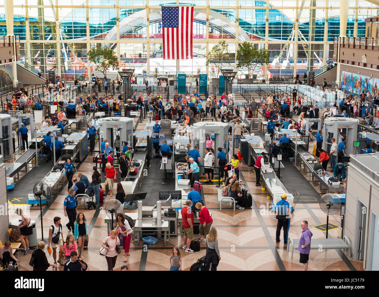 Busy TSA security checkpoint at Denver, Colorado International Airport. Stock Photo