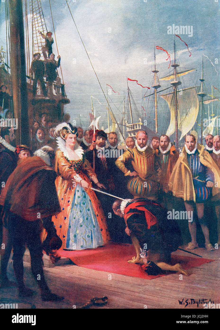 Queen Elizabeth I knighting Sir Francis Drake on board The Golden Hind at Deptford 4th April, 1581. Elizabeth I,aka Stock Photo