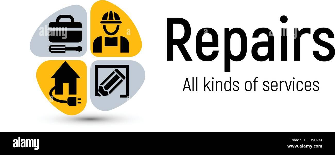 Home repair tools vector logo. House renovation service icon Stock ...