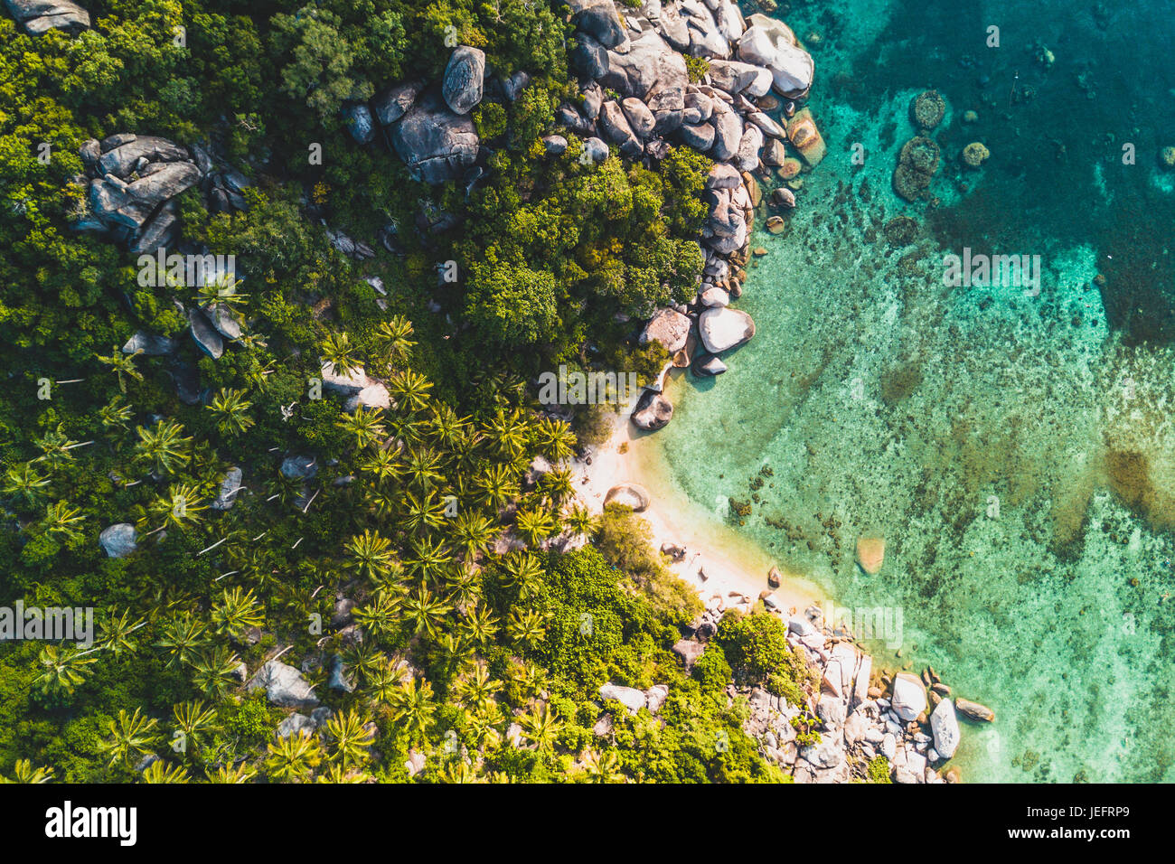 Aerial shot of a beach on Koh Tao, Thailand Stock Photo