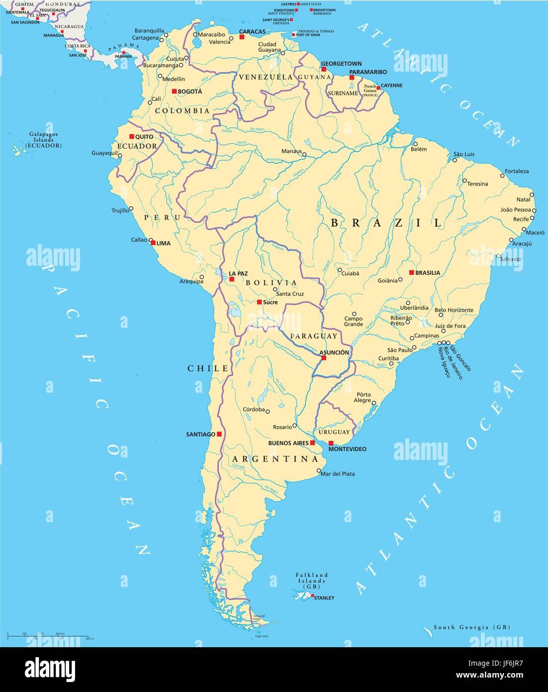 america brazil south america continent venezuela states map