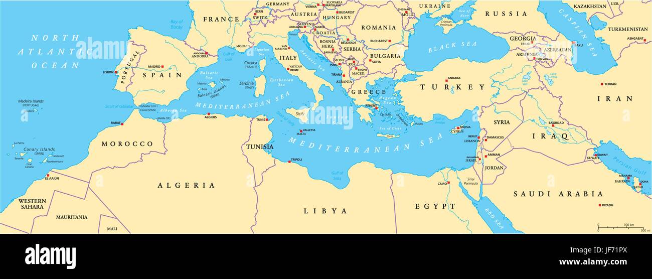 Mediterranean Political Map.Mediterranean Basin Political Map Stock Vector Art Illustration