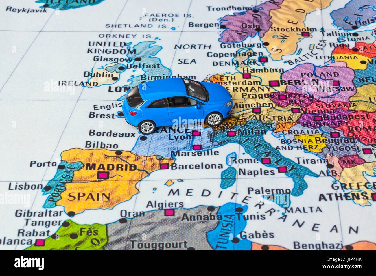 Europe map and car toy Stock Photo