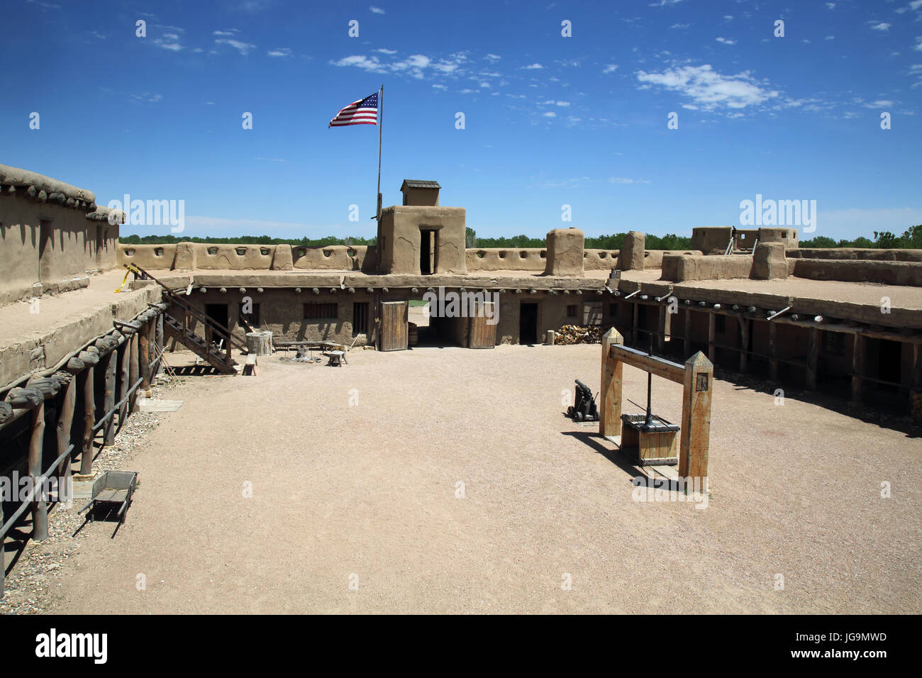 bents old fort, a large hiistoric adobe fort and trading post  in colorado Stock Photo