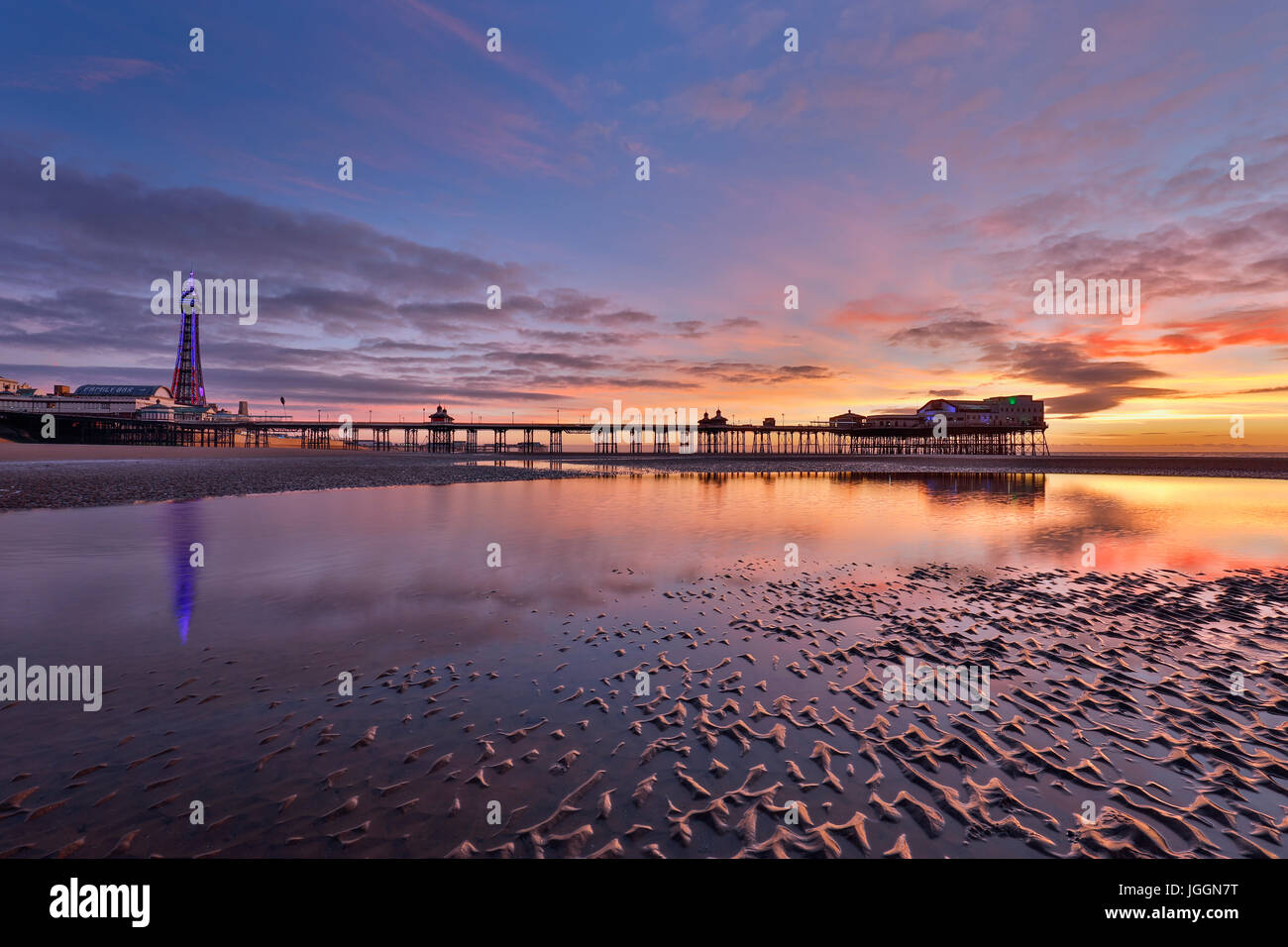 Blackpool; Tower; North Pier; Shore; Lancashire; UK Stock Photo